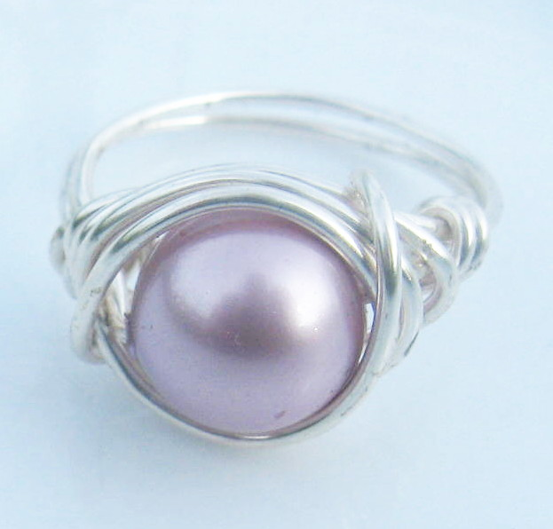 Swarovski Pearl Ring in Powder Pink and Silver