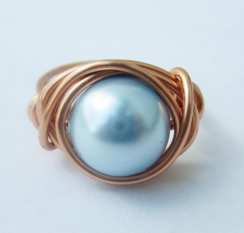 Light Blue Swarovski Pearl Ring in Copper