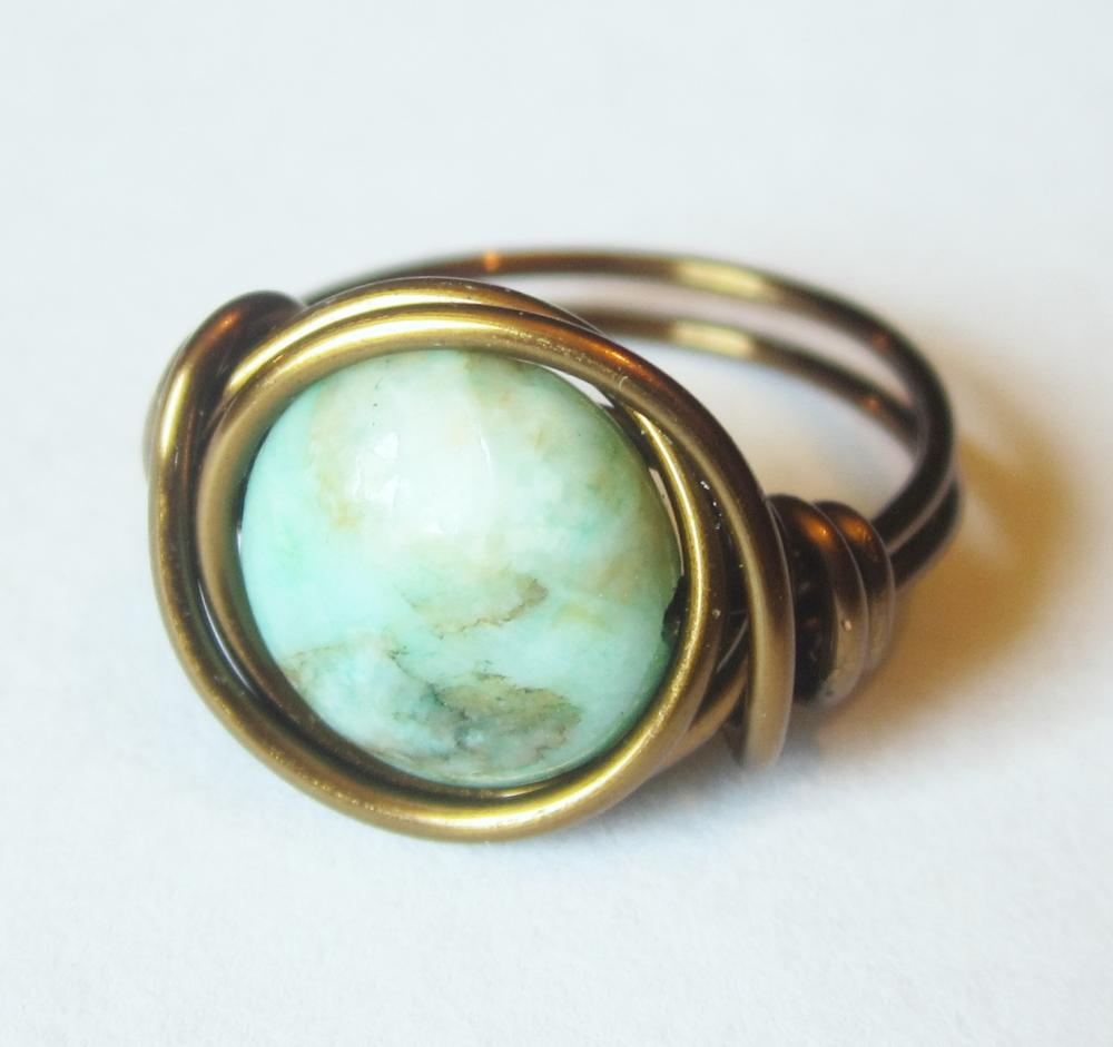 Green Matrix Jasper Disc, Boho Ring Custom size in antique brass
