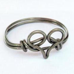 Gunmetal Heart Ring