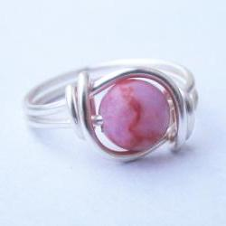 Silver Pink Matrix Jasper Gemstone Ring Custom Size
