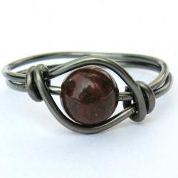 Gunmetal Red Poppy Jasper Gemstone Ring Custom Size