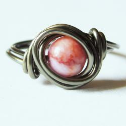 Pink and Gunmetal Gemstone Ring