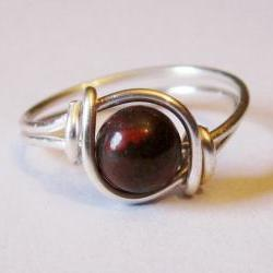 Red Poppy Jasper Gemstone Ging in Silver