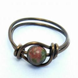 Unakite Gemstone Ring in Antique Brass