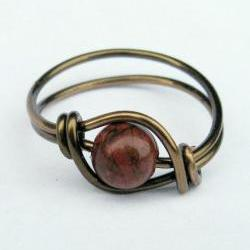 Red Poppy Jasper Ring in Antique Brass
