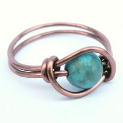 Turquoise Jasper Ring in Antiquw Copper